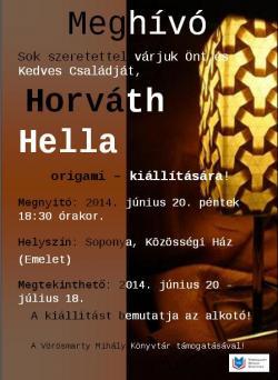 Horváth Hella origami kiállítása Soponyán